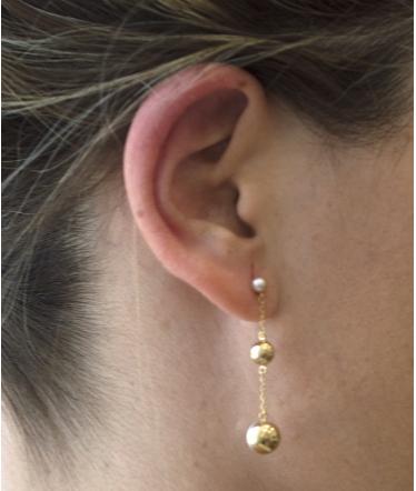 pendientes perlas colgantes oro