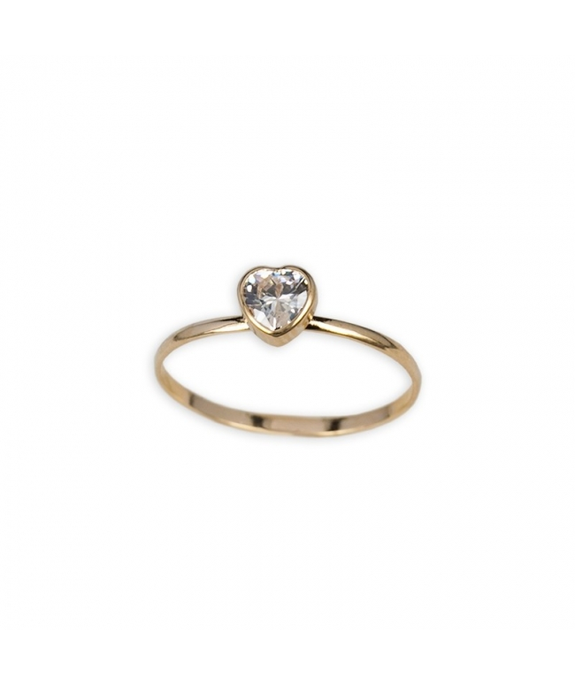 Anillo oro blanco 9 kts. corazón inf. (BH185)