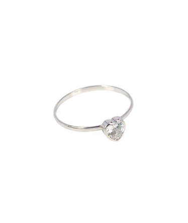 9 kts white gold heart ring (BH185)