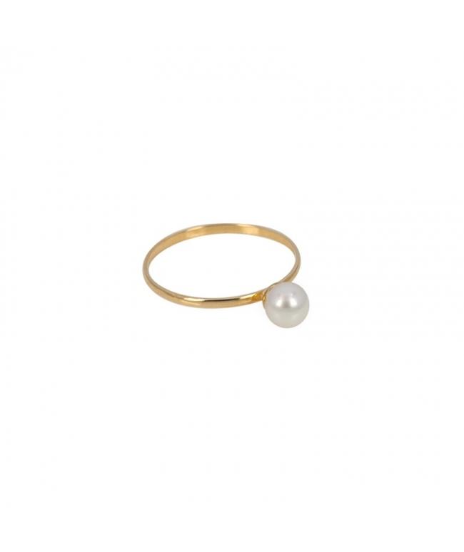 Anillo oro blanco 9 kts. perla inf (BH187)