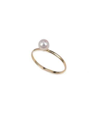 Ring white gold 9 kts pearl (BH187)