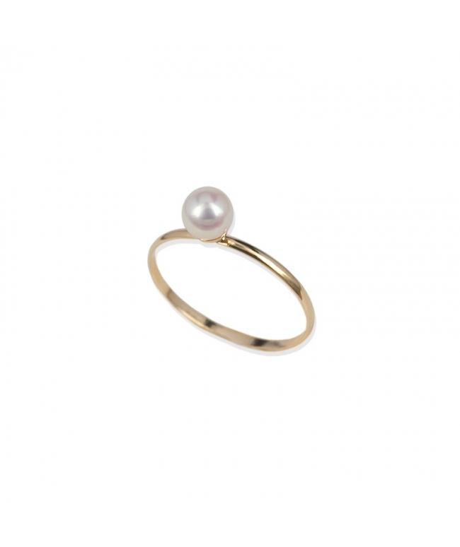 Anillo oro blanco 9 kts. perla (BH187)