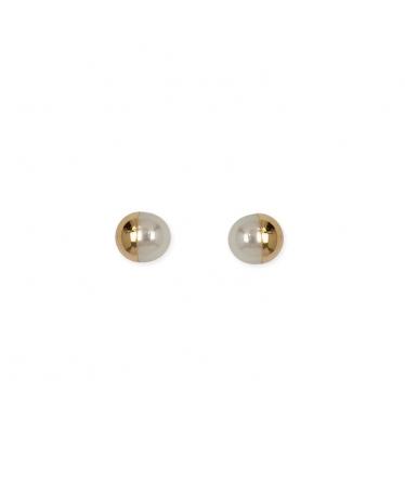 Pendientes oro blanco 9 kts. perlas colgantes (BH205)