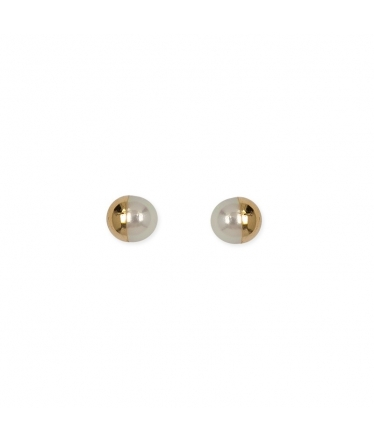 White gold earrings 9 kts. hanging pearls (BH205)