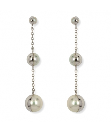 Gold earrings 9 kts 1/2 balls (BH218)
