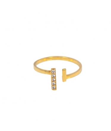 anillo abierto oro y circonitas