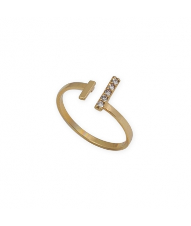 Anillo plata con circonitas y perla abierto (BH192)