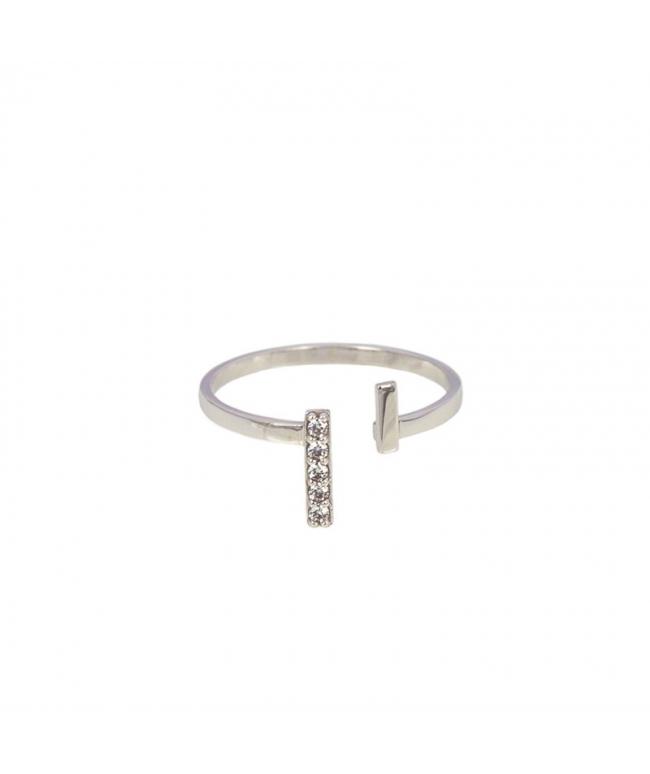 Anillo plata con circonitas y perla abierto inf (BH192)