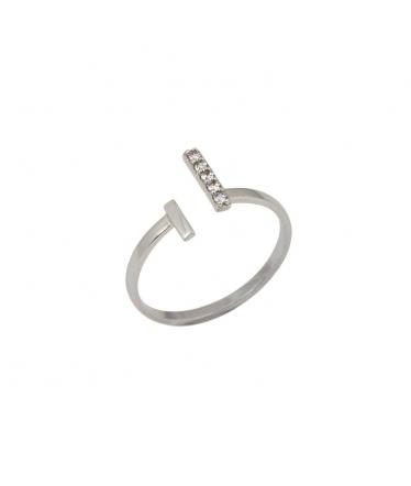 Anillo plata con circonitas y perla abierto (BH193)