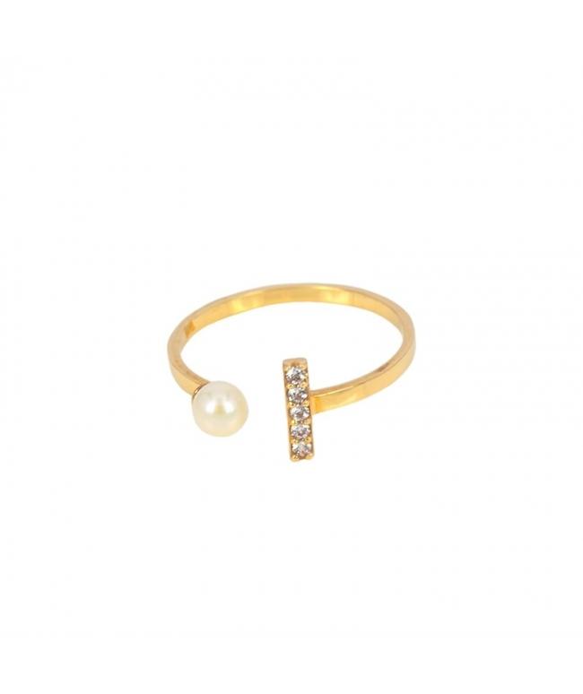 Anillo plata con circonitas y perla abierto inf (BH193)