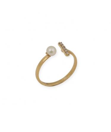 anillo abierto perla