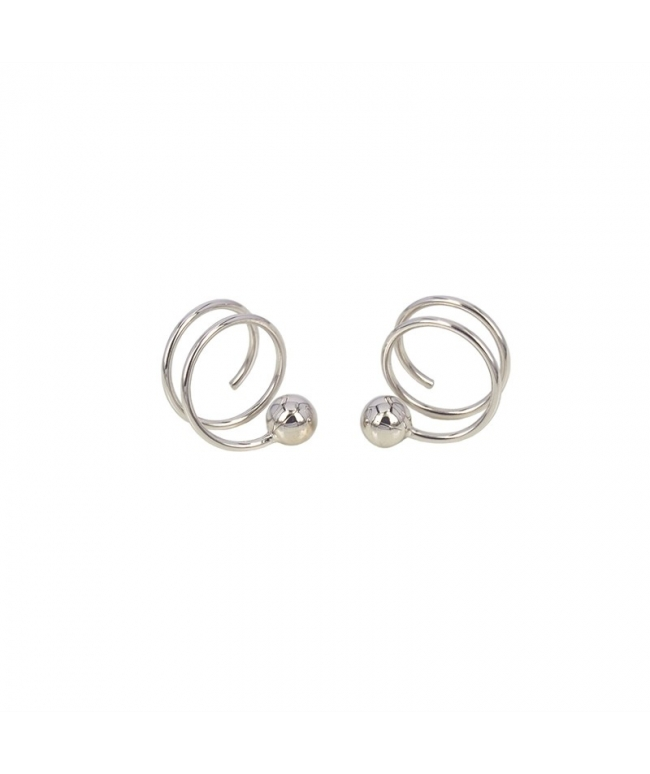 Pendientes plata espiral trébol (BH201)