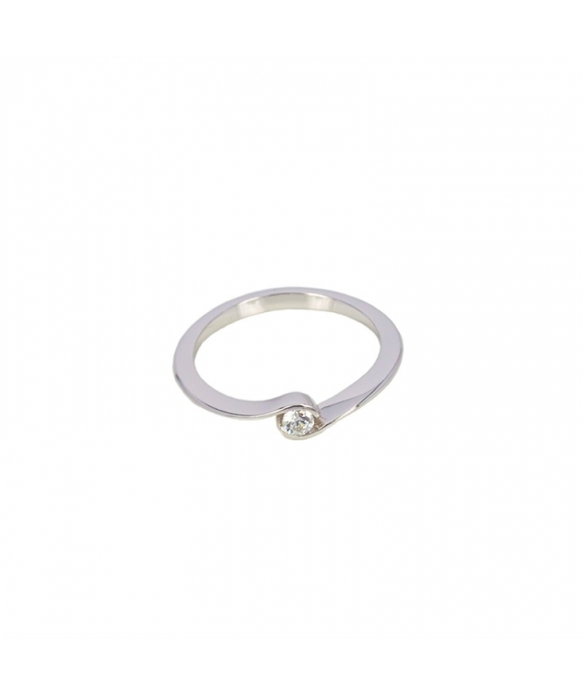 Silver shuttle ring with zircons (BH208)