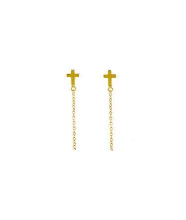 pendientes cruz oro