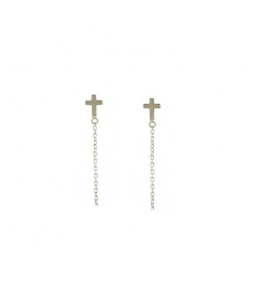 pendientes cruz con cadena