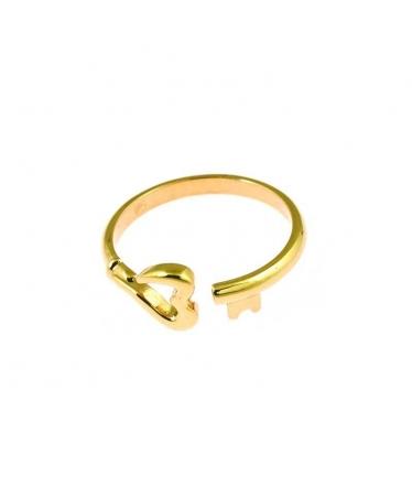 anillo corazón llave oro