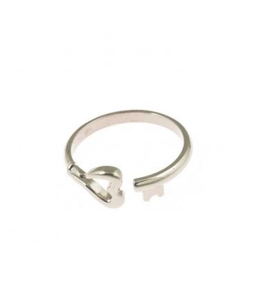 anillo llave corazón plata rodiada