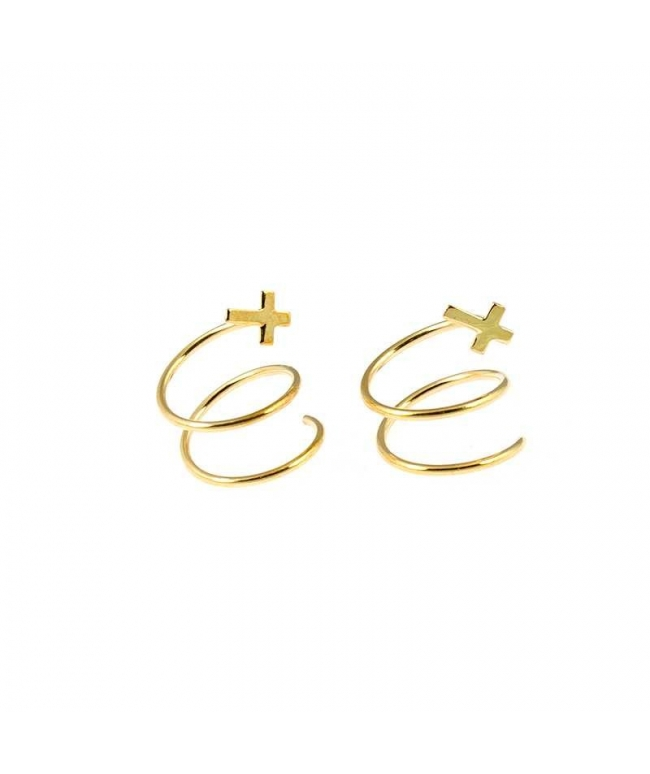 pendientes oro espiral cruz