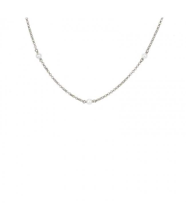 tobillera con perlas plata