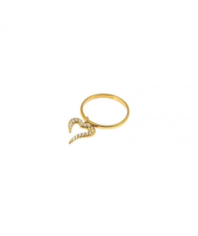 anillo corazón de oro