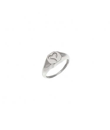 anillo corazón plata