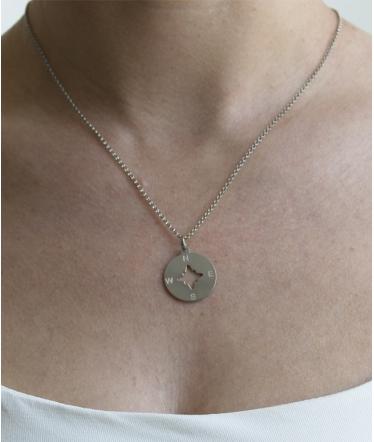 gargantilla brújula plata